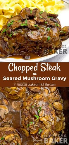 Delicious chopped sirloin patties with an awesome seared mushroom gravy. Easy to make! Delicious chopped sirloin patties with an awesome seared mushroom gravy. Easy to make! Chopped Steak Recipes, Chop Meat Recipes, Sirloin Recipes, Ground Beef Recipes, Chopped Sirloin Patties Recipe, Steak And Mushrooms, Stuffed Mushrooms, Mushroom Gravy For Steak, Beef Steak