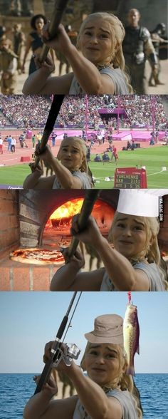 Memes and funny pictures about Game of Thrones. Dany and dragons, Hound making faces, Lannisters being blond, and lots Funny Photoshop, Game Of Thrones Funny, Got Memes, Mother Of Dragons, Emilia Clarke, Funny Animal Videos, Funny Games, Really Funny, Funny Pictures