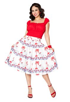 """Bettie Page By the Sea with Me """"Sea Breeze"""" skirt in custom bettie print with red fiesta top #seaside #seaoflove #bettiepage #bettiepageclothing  #retro #pinup #vintageinspired #bettiepagequeenofpinups #repro #fashion #spring2016 #summer2016 #retrofashion #summertime #rockabilly #tikioasis #VLV"""