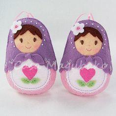 Matryoshka Doll Ornaments - Wool/Rayon Felt - Hand Stitched - Set of 2