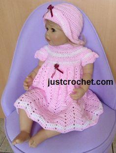 Free baby crochet pattern for dress & hat http://www.justcrochet.com/dress-hat-usa.html #justcrochet