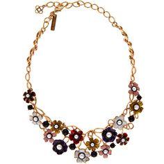 Oscar de la Renta Enamel Flower Pearl Necklace ($1,080) ❤ liked on Polyvore featuring jewelry, necklaces, white pearl necklace, fake pearl necklace, summer necklace, adjustable chain necklace and enamel jewelry