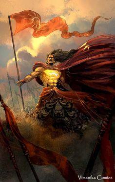 Karna in Mahabharata War Canvas Art Print by Vimanika Arts. - Prints for Sale online in India. Indian Gods, Indian Art, Indian Style, The Mahabharata, Mahabharata Quotes, Mythological Characters, Hanuman Wallpaper, Lord Vishnu Wallpapers, God Pictures