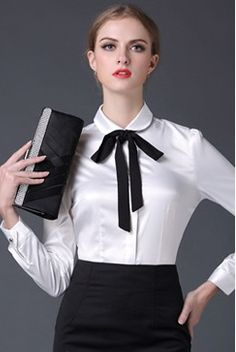 2016 neue Satin Shirt Frauen langarm peter pankragen seide blusen frauen arbeitskleidung uniform büro OL shirt einfache körper tops
