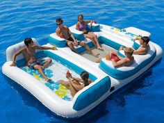 6 Person  Floating Island raft for lake/camping (who says it has to go in the water?) pool time! Built in cupholders/pool/cooler!