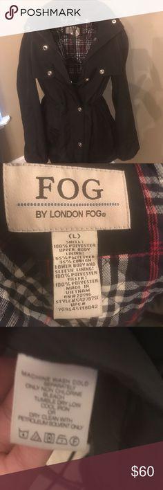 Black raincoat w/ hood Gently worn London Fog Jackets & Coats