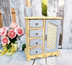 Yellow and Gray Chevron SHABBY CHIC Jewelry Box / Armoire Cabinet Case with Chevron Door on Etsy, $79.00