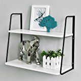 WELLAND 2-Tier Display Wall Shelf Storage Rack Wall Rack Holder Rack, White
