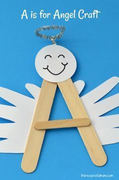 "This A is for Angel Craft is a fun, festive craft for preschoolers to reinforce learning of letter ""A"". It will look darling hanging on your Christmas tree. by donnannclay Festive Crafts, Christmas Crafts For Kids, Christmas Activities, Craft Stick Crafts, Christmas Projects, Christmas Fun, Holiday Crafts, Fun Crafts, Christmas Carol"