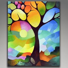 Commissioned original abstract painting, DREAMING TREE in colors, coral, orange, teal, aqua, turquoise, pale green, lemon, lavendar