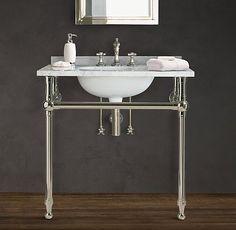 Restoration Hardware - Charcoal Gray - Console Sink - Washstand Vanity - Bathroom Design