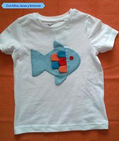Con hilos, lanas y botones: tutorial camiseta pez