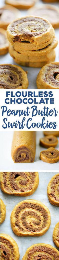 These Flourless Chocolate Peanut Butter Swirl Cookies are soft, dense and easy to make with half the sugar and no flour!