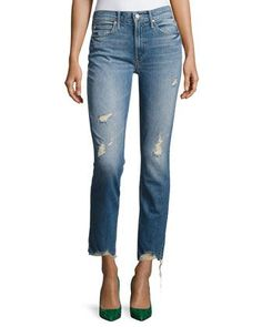 Flirt Fray Slim Jeans, Cold Feet by Mother Denim at Neiman Marcus.