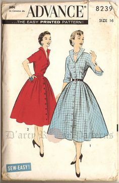 Advance 8239; 1950s; Misses Dress. Only Four Major Pattern Pieces - two for the bodice, two for skirt. Sleeve and wing collar in one with bodice