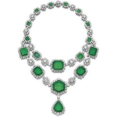Magnificent emerald and diamond necklace, Harry Winston, 1959   lot  ... ❤ liked on Polyvore featuring jewelry, necklaces, harry winston jewelry, emerald jewellery, harry winston, wine jewelry and emerald necklace