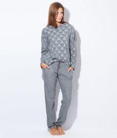 Pyjama 2 pièces, haut imprimé coeurs - OWEN - GRIS - Etam Lingerie - octobre 2015 - 45e