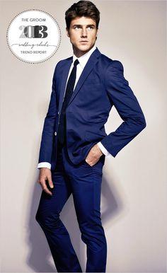 blue blue suit 2013 trend report - stylish ideas for the groom Wedding Groom, Wedding Men, Wedding Suits, Wedding Attire, Wedding Styles, Dream Wedding, Wedding Dresses, Wedding Bouquets, Wedding Flowers