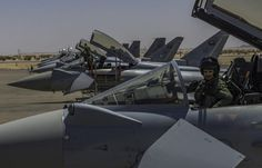The Royal Saudi Air Force has deployed 4 F-15C Eagles and 4 Eurofighter Typhoons, from the 2nd Wing based at King Fahd Air Base, to Sudan for the first time.    The Saudi combat planes have arrived at Merowe Air Base, located about 330 km to the north of Khartoum, to take part in Ex. Blue Shield-1, a joint aerial exercise with the Sudanese Air Force, until Apr. 12.