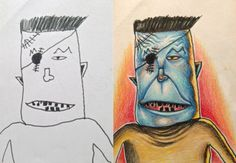 """Frankenstein? """"On my next trip my 6 yr old son wanted to get in on the act. This time they both drew me up something. Same colored pencils, ..."""