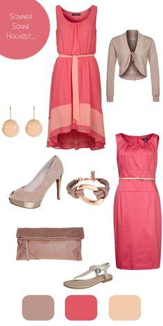 Outfit Sommerhochzeit Koralle Nude das obere Kleid ist soooo schön