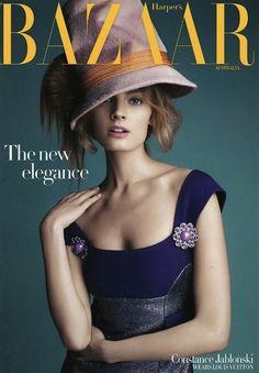 love that dress - Constance Jablonski covers the September issue of Harper's Bazaar Australia