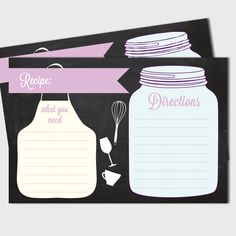 """Recipe Card printable file. Bridal or wedding shower recipe card. 4"""" x 6"""". Direct download"""