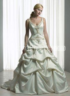 Untraditional A-line V-Neck Floor-length Embroidery & Pick-ups Chapel Color Wedding Dresses