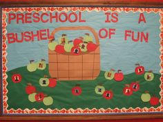 october bulletin boards fall bulletin board ideas for preschool - Bing images Apple Bulletin Boards, Daycare Bulletin Boards, September Bulletin Boards, Halloween Bulletin Boards, Birthday Bulletin Boards, Preschool Door, Fall Preschool, Preschool Activities, Teach Preschool