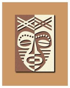 African Mask Design in two tone paper collage