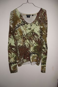 Cabo Womens Long Sleeved V Neck Embellished Shirt Blouse Brown Green Print SZ Sm #Cabo #LongSleeved #Casual