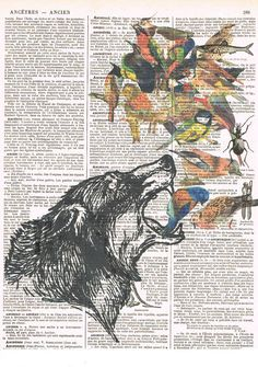 WolfCollage.Birds.Antiquebirthday. by studioflowerpower on Etsy, $8.50