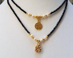 Black Short Necklace, Beaded Necklace, Tree-Of-Life Pendant, Budha Pendant, Tree-Of-Life Jewelry ,Minimalist Necklace,Tiny Beaded Necklace,