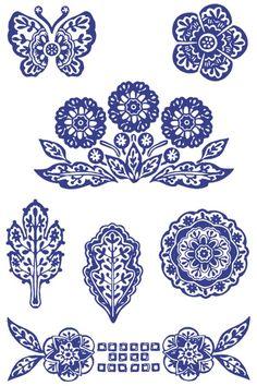 青花瓷图案的橡皮章