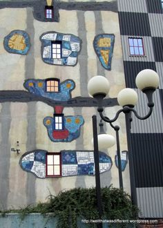 Every detail of the plant was designed by Hundertwasser in his particular organic style. Looking at some of the post-war Stalinist architecture here in Vienna, you can easily understand what he was reacting to. I would be tempted to decorate those concrete boxes myself!