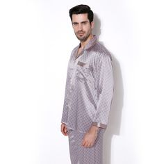 Brand Male Luxury Sleepwear 100% Silk Long-Sleeve Men Pyjamas Pajama Sets  Pants Men fbfddb303