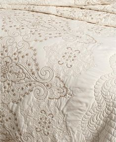 Martha Stewart Collection Column Embroidery Queen Bedspread, Created for Macy's - Ivory/Cream Decor, Linen, Mattress Furniture, Space Furniture, Home Decor, Bed, Bedroom Decor, Twin Bedspreads
