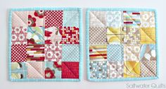 Saltwater Quilts: Quilted Potholders Using a Mini Charm Pack - A Quick Little Project