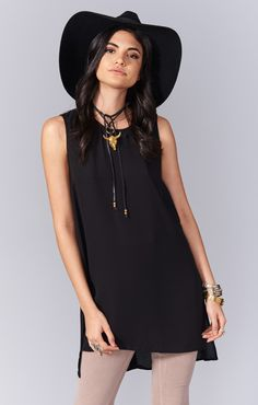 Sherman Tunic Tank ~ Black Crisp