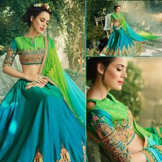 The lehenga made in silk crape with thread heavy embroidery work. embroidery done with zari resham extra. kindly check the details about item before buying. we will notify you or share images. if you need stitching service or else we send unstitched. | eBay!