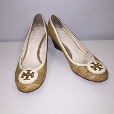 """Tory Burch Wedges So super cute used wicker fabric with cream/ white trim and gold logo wedges. In great shape slight wear on the back as you can see in the picture other wise these are great! Tory Burch dust bag included. 2.5"""" wedge Tory Burch Shoes Wedges"""