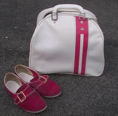 Vintage Brunswick Bowling Bag White With Pink Strip