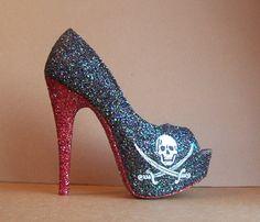 Jolly Roger Pirate Skull Glitter High Heels by TattooedMary