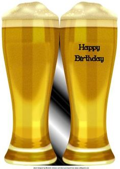 birthday beer shaped card on Craftsuprint designed by Michelle Johnson - this is a quick cut and fold card in the shape of a glass of beer or lager for any male birthday or female birthday  - Now available for download!