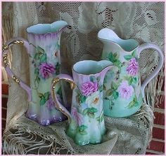 Love china painted pitchers!  Very similar to a pattern my grandmother painted....