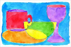 Abstract Watercolor Still Life. Overlap still life shapes. trace with crayon and fill with watercolor.
