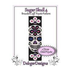 Bead Pattern PeyoteBracelet CuffSugar Skull 4 by FUNPATTERNDESIGNS