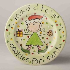 personalized+girl's+cookies+for+santa+plate+by+suzaluna+on+Etsy,+$48.00