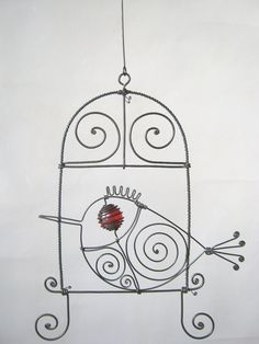 Wire Bird In A Wire Window Hanging Sculpture Wire Crafts, Diy And Crafts, Window Hanging, Metal Projects, Wire Art, Beads And Wire, Rock Art, Metal Art, Sculpture Art