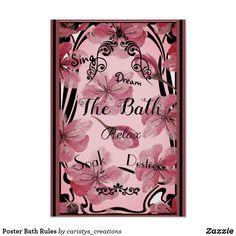 Shop Poster Bath Rules created by caristys_creations. Bathroom Art, Laundry In Bathroom, Art Deco Posters, Corner Designs, Bath Decor, Custom Posters, Custom Framing, Stationery, Wall Art